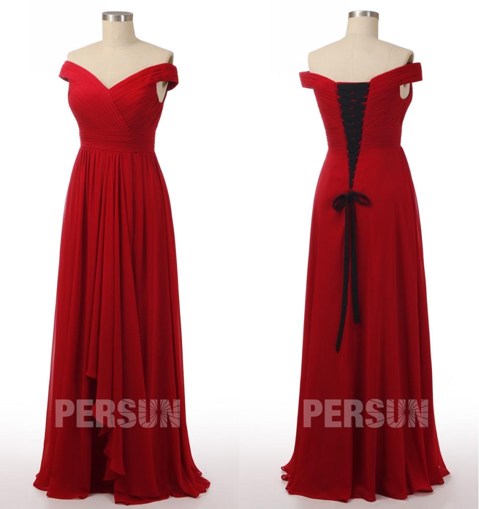 robe de soirée longue rouge rubis épaule dénudée plissé dos à lacet