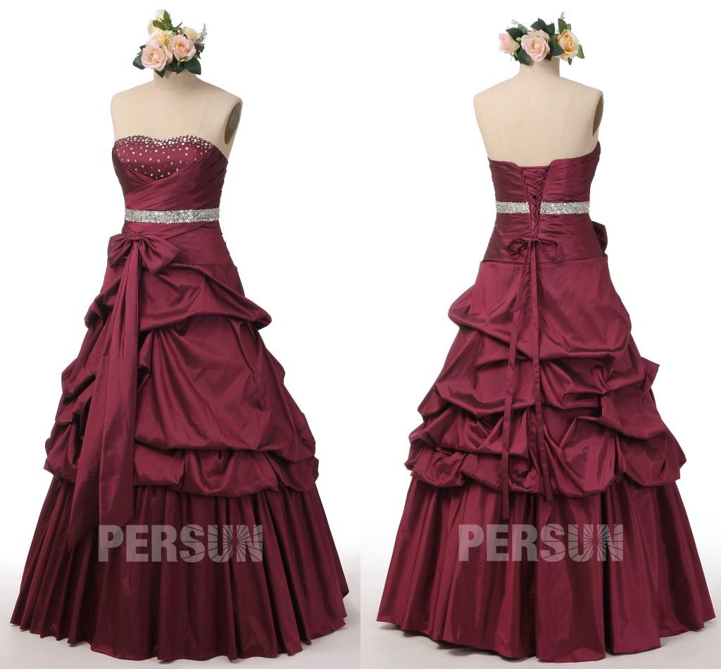robe de soirée longue princesse bourgogne bustier ornée de strass jupe brouillonnée