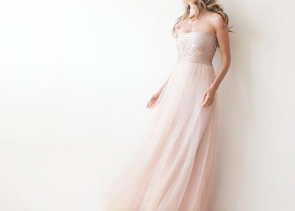 robe de soirée rose blush bustier