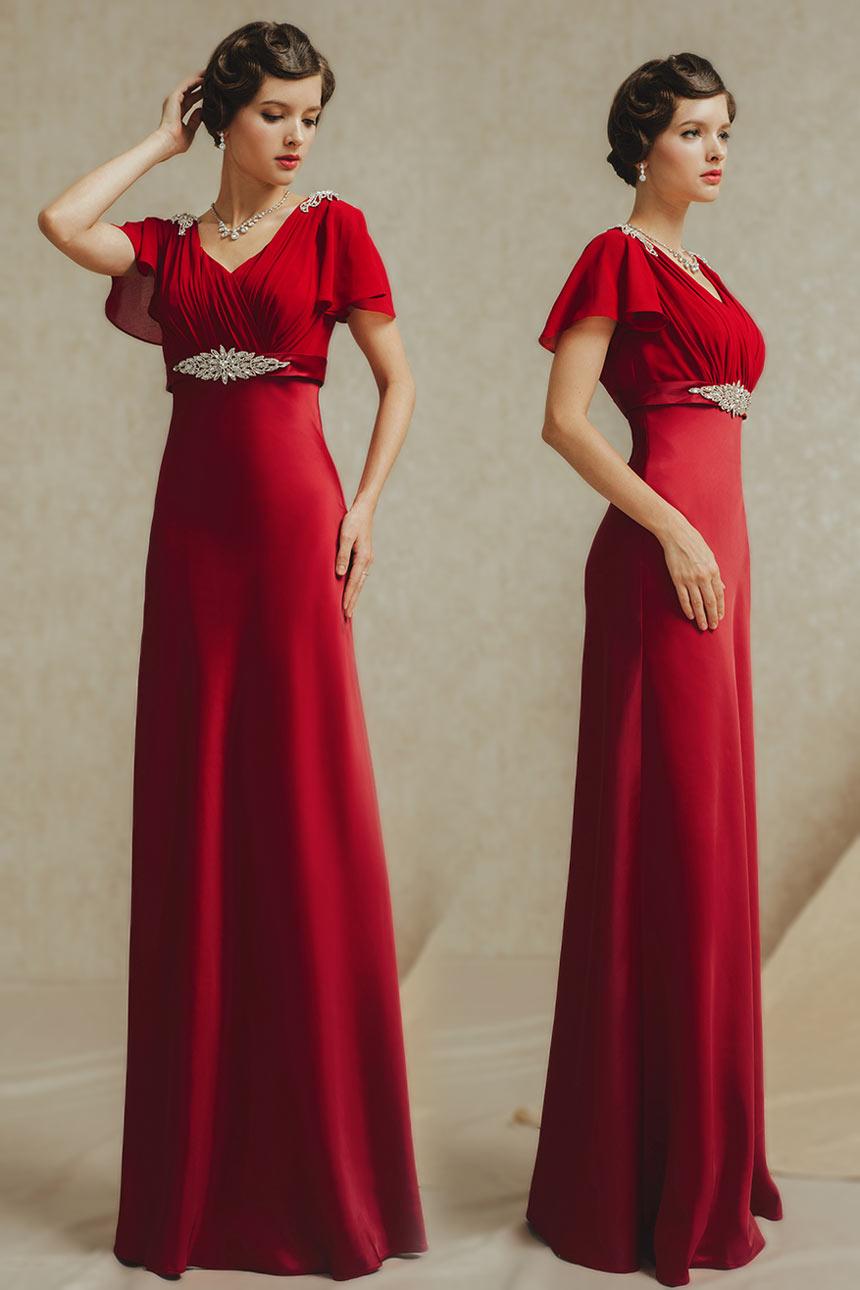 robe de soirée longue empire rouge manche courte évasée bustier plissé embelli de strass