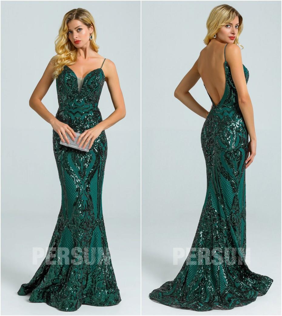 robe de soirée vert sirène col v embelli de sequins dos nu bretelle ouvert