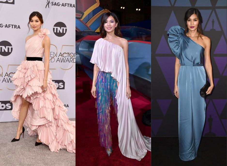 robe de soirée à col asymétrique de Gemma Chan