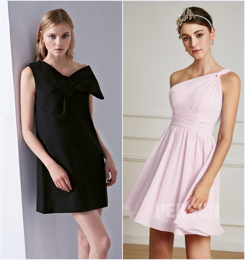 robe de cocktail courte décolleté asymétrique