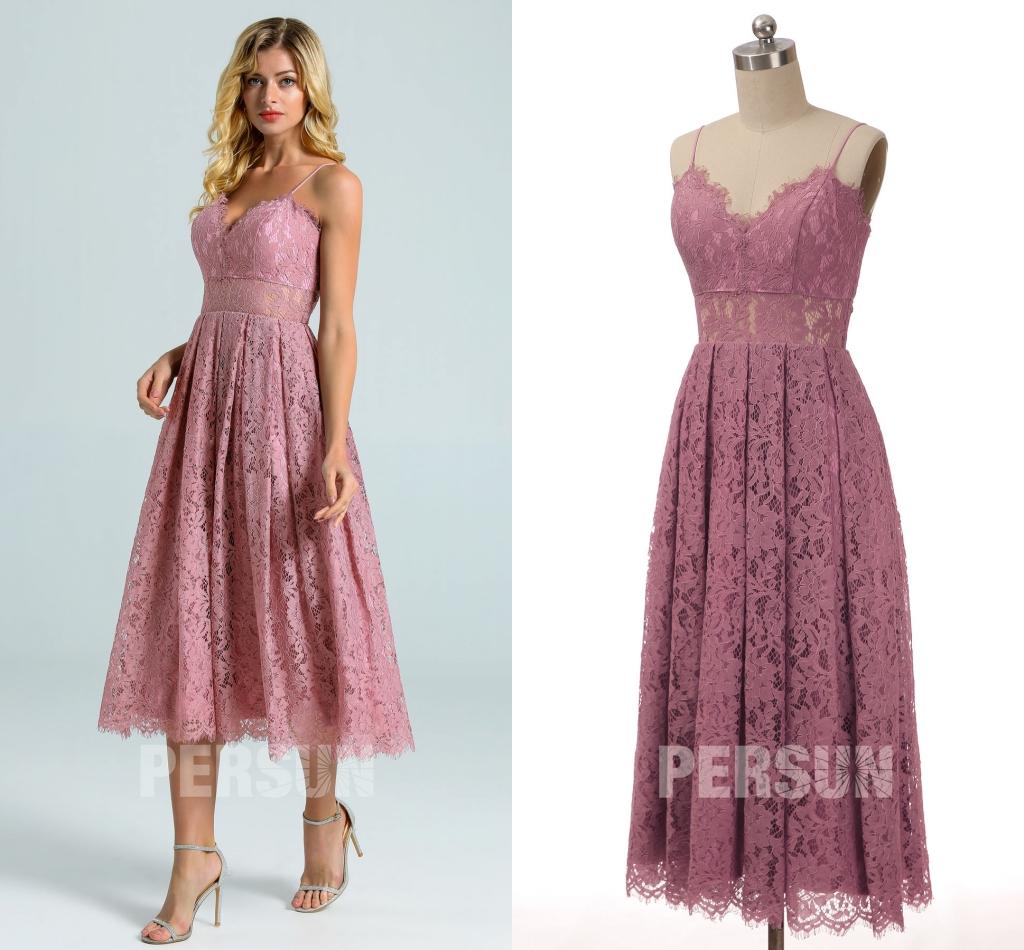 robe de soirée courte vieux rose en dentelle taille transparent avec bretelle fine