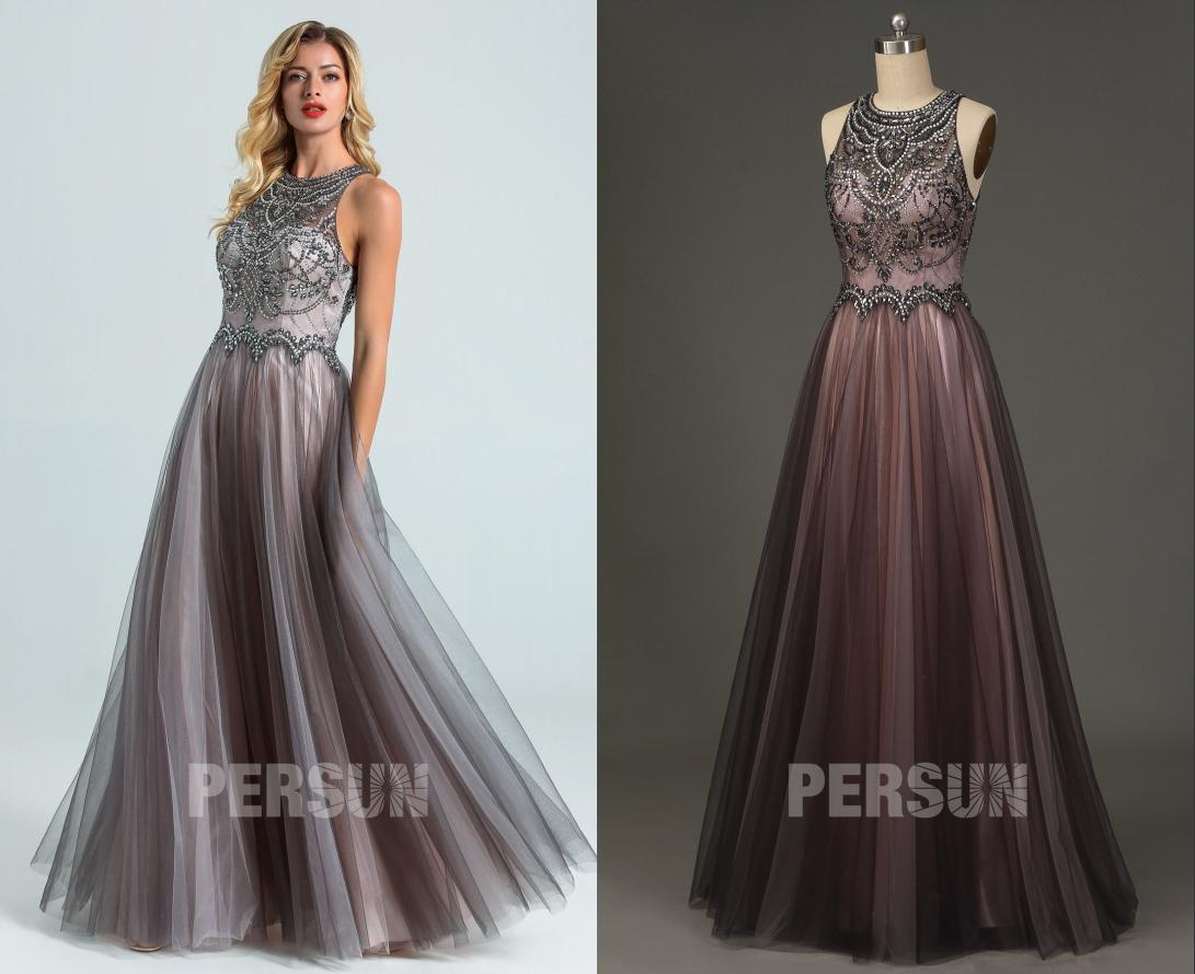 robe de soirée grise rose col illusion embelli de bijoux exquis