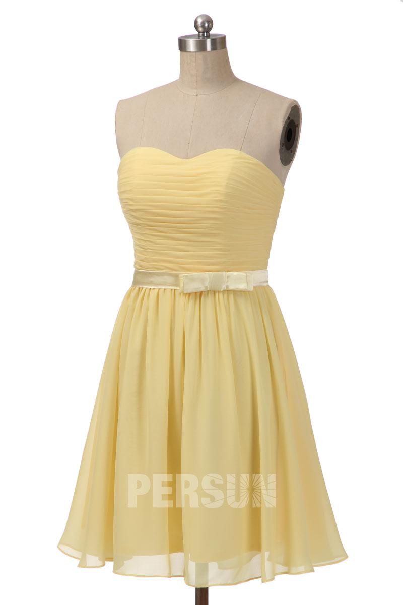 robe demoiselle d'honneur courte jaune bustier plissé