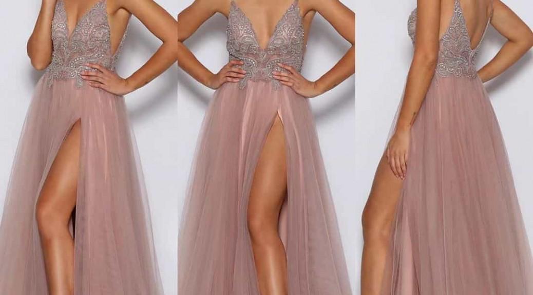 robe de soirée longue rose fendue col v ornée de bijoux