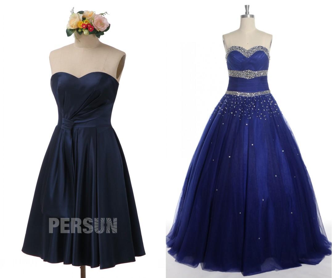 robe de soirée bleu nuit bustier coeur