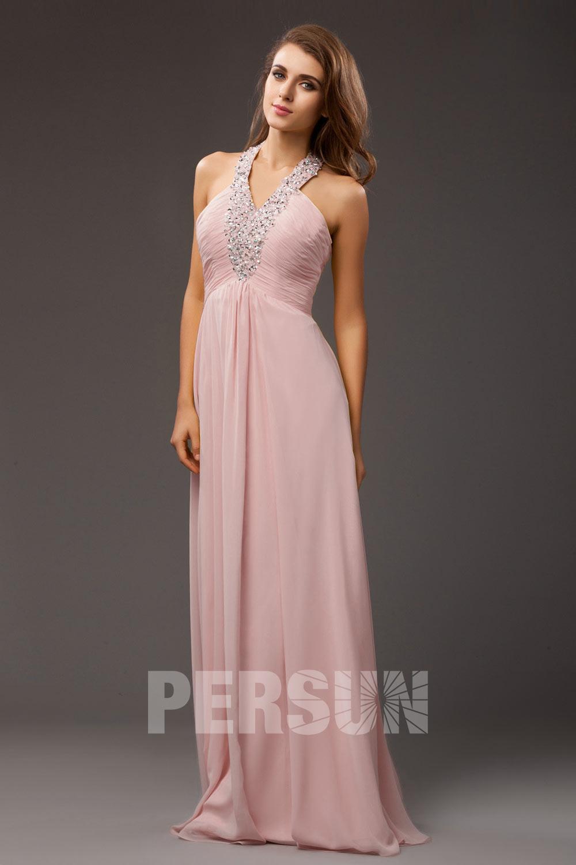 robe de soirée longue rose col halter embelli de strass