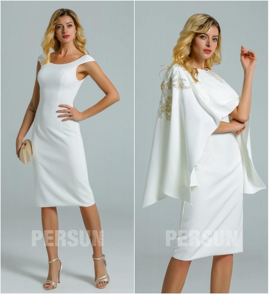robe de cocktail courte moulante blanche avec cape brodé de dentelle guipure