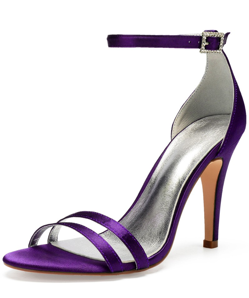 sandale femme violet aux lanières talon haut