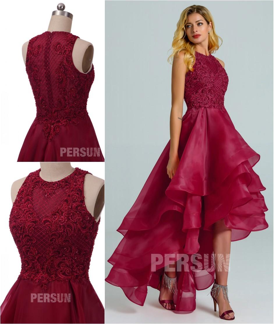 robe de soirée bascule bordeaux haut en guipure jupe froufrou à volant
