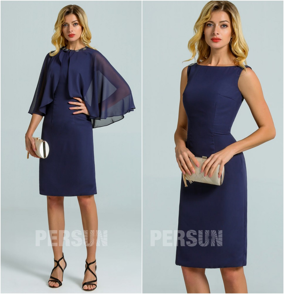 robe de cocktail moulante courte simple bleu marin avec cape