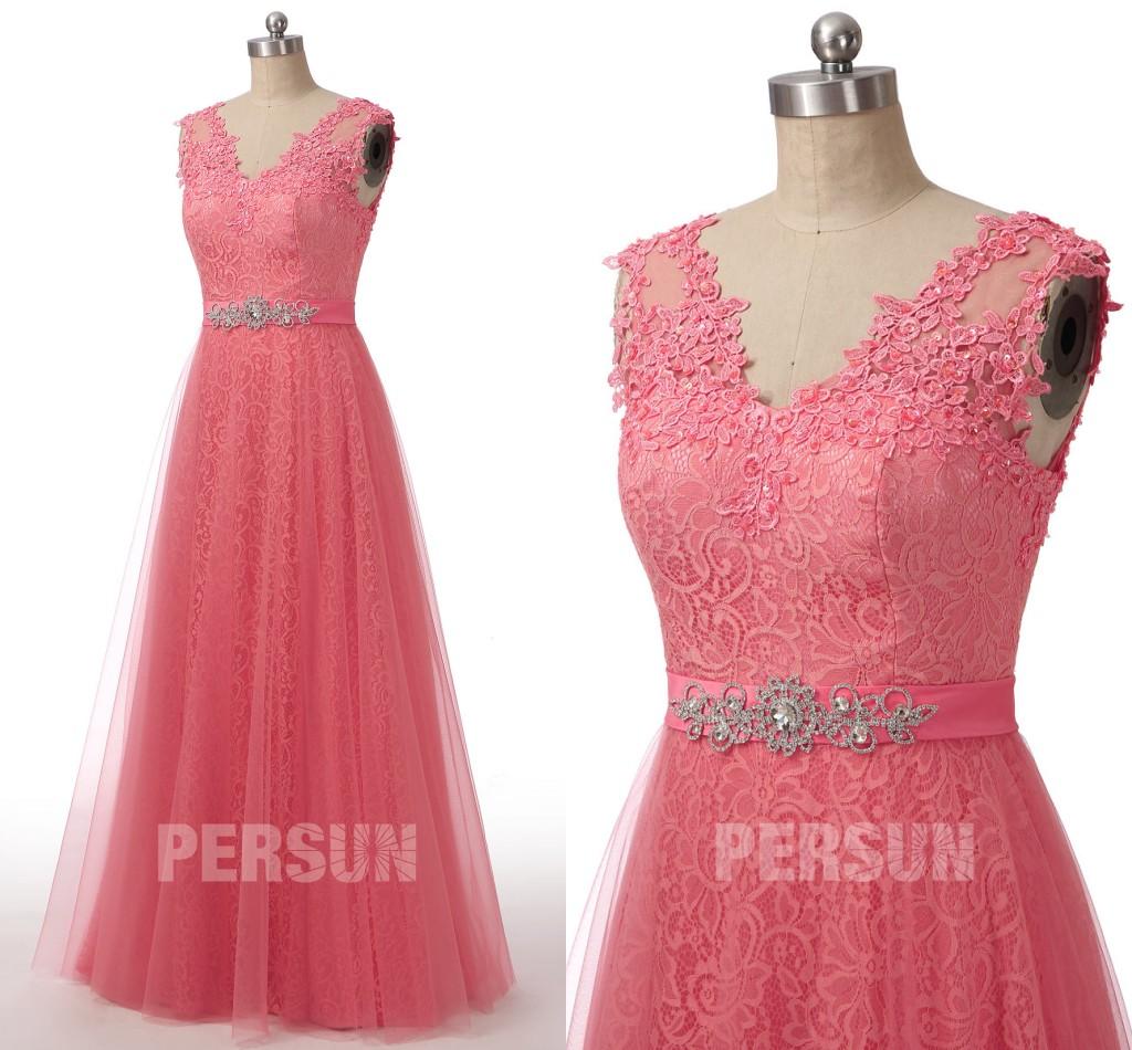 robe de soirée longue pastèque en dentelle taille ornée de strass