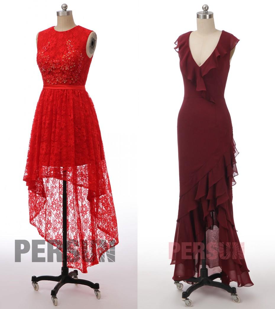 robe de cocktail rouge courte devant longue derrière