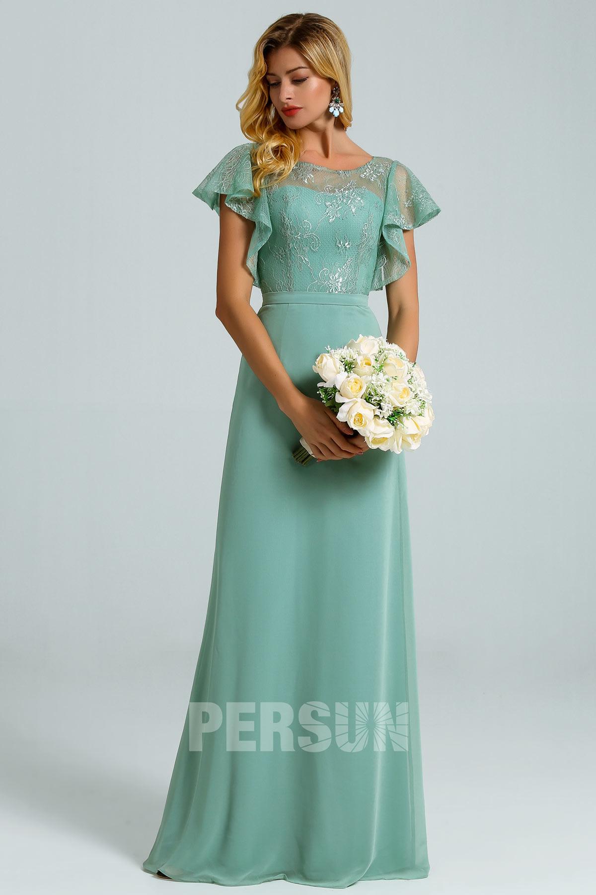 robe pour un mariage vert jade dos découpé haut en dentelle florale à manche courte volant