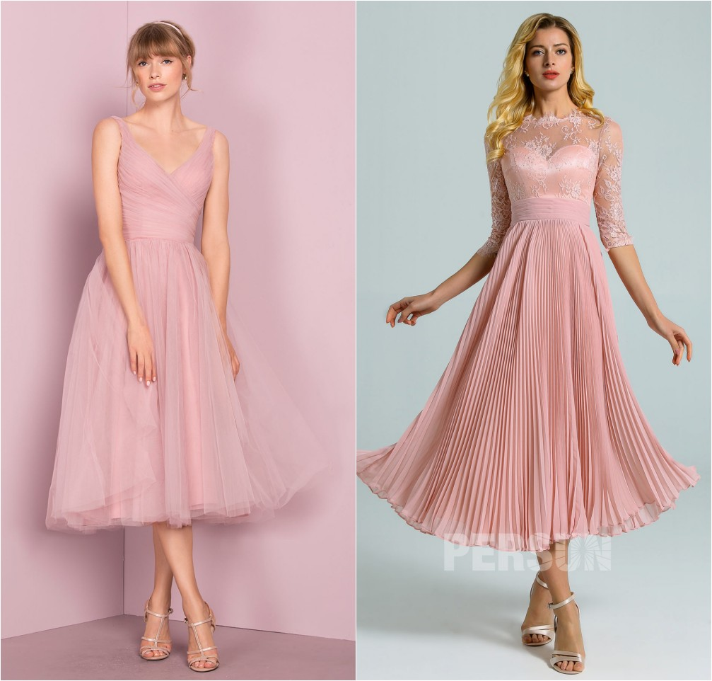 robe de cocktail mi-longue rose