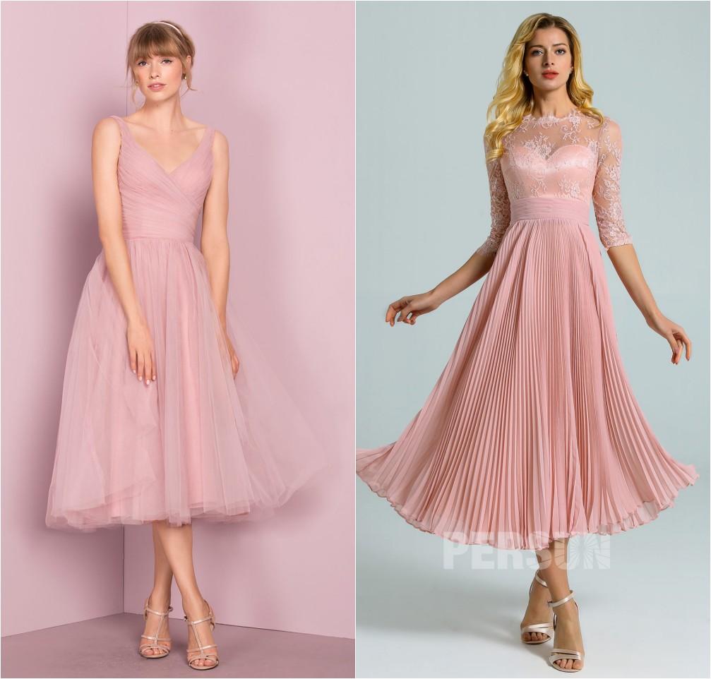 robe de cocktail mi-longue rose