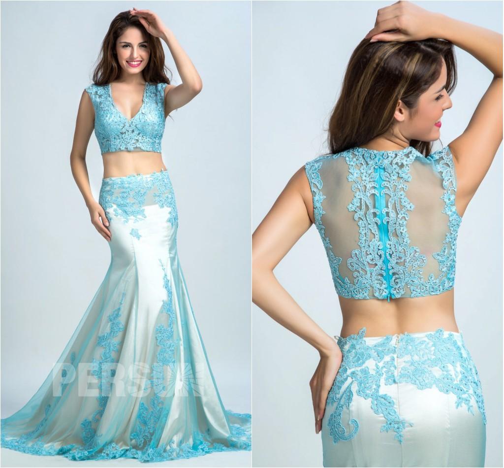 robe de soirée longue bleu deux pièces encolure v  appliquée de dentelle