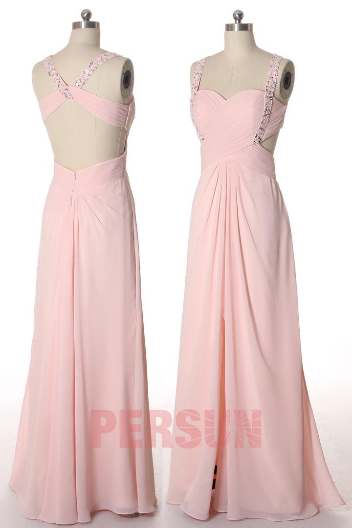 robe de soirée longue rose fendue dos découpé embelli de strass