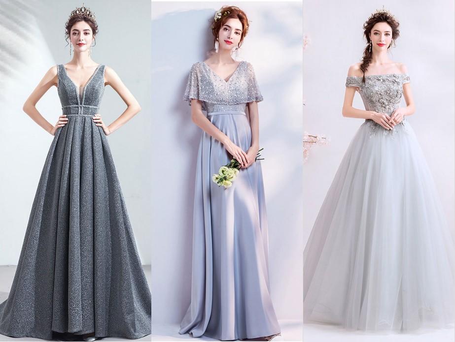 robe de soirée longue gris