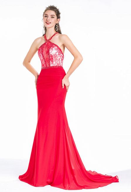 robe de soirée sirène rouge