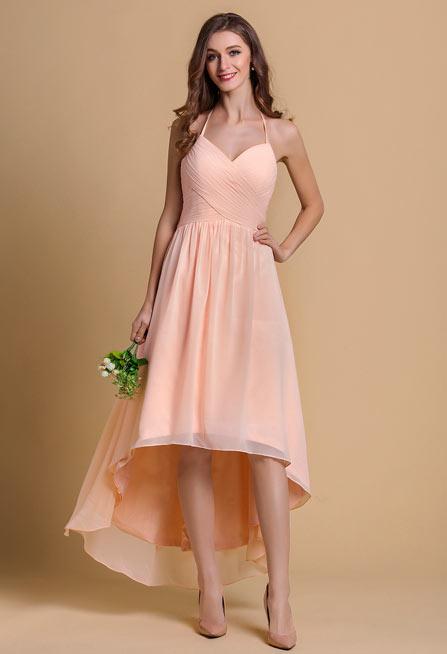 robe de cocktail nude rose courte devant longue derrière