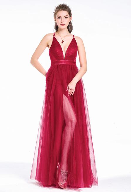 robe de bal de promo bordeaux sexy décolleté plongeant